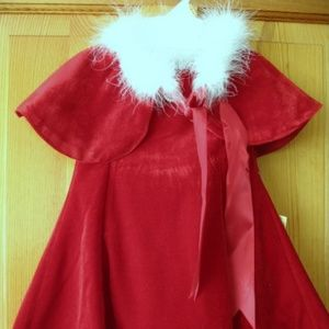 Girl's Holiday Red Velvet Dress/Cape/Panties Set